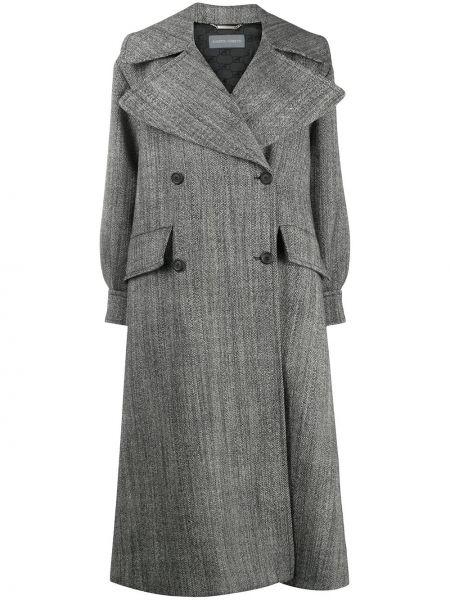 Серое шерстяное пальто с воротником на пуговицах Alberta Ferretti