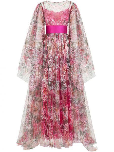 Ажурное розовое шелковое вечернее платье Dolce & Gabbana
