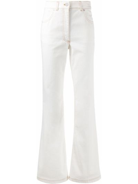 Хлопковые белые джинсы с высокой посадкой с карманами с заплатками Jw Anderson