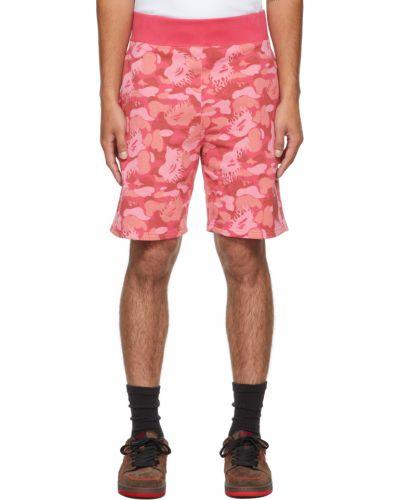 Розовые махровые шорты Bape