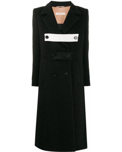 Плиссированное шерстяное черное длинное пальто Ssheena