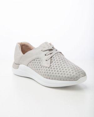 Кожаные спортивные серебряные кроссовки Sidestep