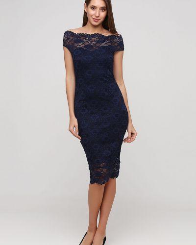 Гипюровое синее вечернее платье с открытыми плечами City Goddess