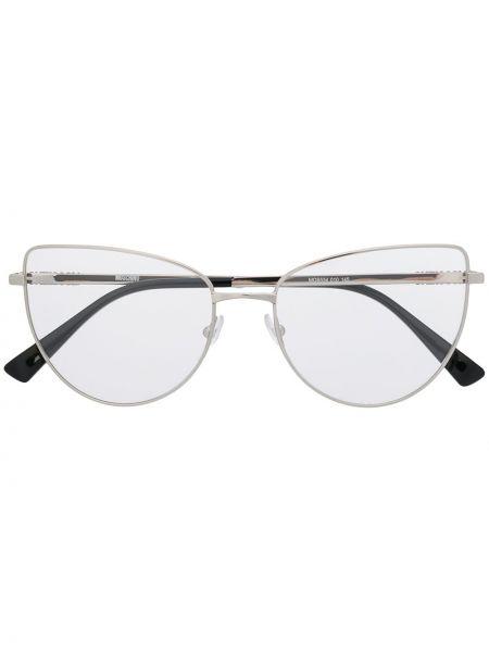 Серебряные очки кошачий глаз Moschino Eyewear