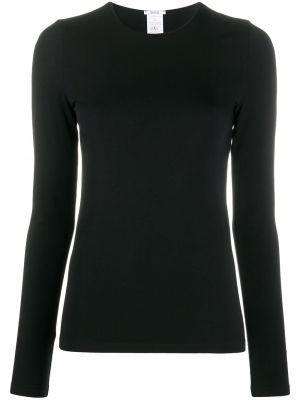Облегающий черный прямой пуловер с круглым вырезом Wolford