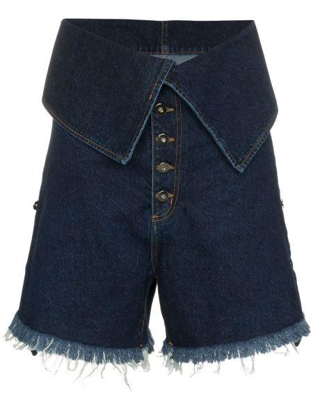 Однобортные джинсовые шорты со стразами Marques'almeida