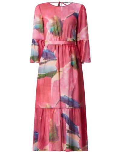 Różowa sukienka z falbanami z wiskozy Pennyblack