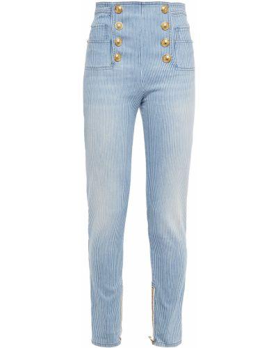 Синие хлопковые джинсы Balmain