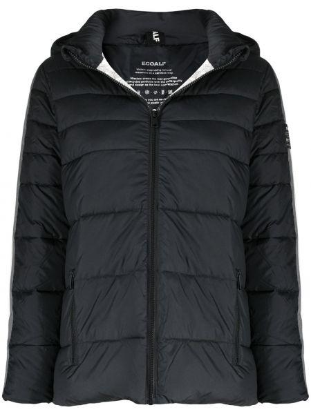 Классическая черная стеганая куртка с нашивками на молнии Ecoalf