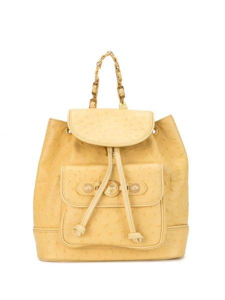 Кожаный желтый рюкзак на бретелях на шнурках Versace Pre-owned