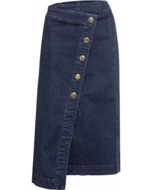 Джинсовая юбка макси на пуговицах Bonprix