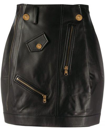 Черная с завышенной талией кожаная юбка Versace Collection