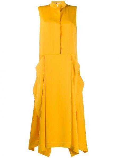 Платье миди на пуговицах - оранжевое Mulberry