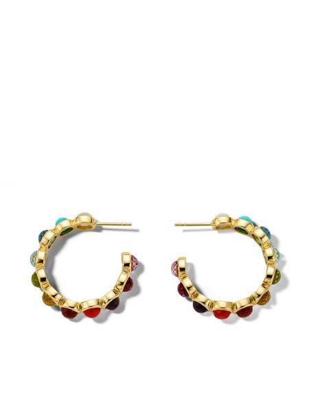 Золотистые серьги-гвоздики золотые с жемчугом Ippolita