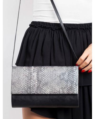 Czarna kopertówka skórzana Fashionhunters