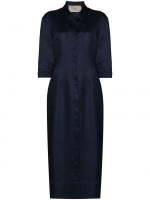 Синее приталенное платье Asceno
