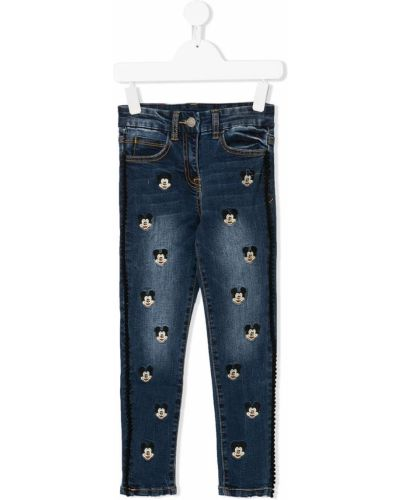 Хлопковые синие джинсы на молнии с поясом Monnalisa