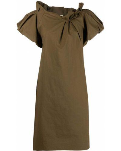 Прямое зеленое платье мини с воротником-стойка Odeeh