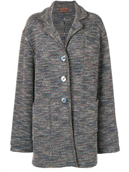 Свободное синее шерстяное пальто классическое на пуговицах Missoni Pre-owned