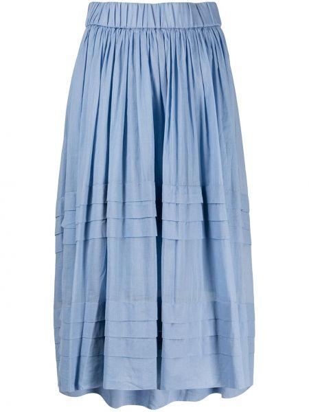 Плиссированная юбка миди синяя Peserico