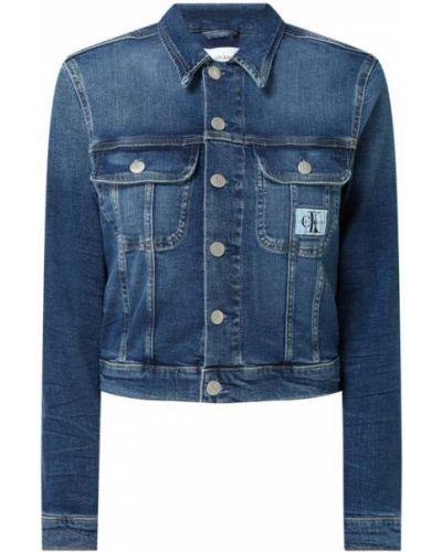 Niebieski bawełna kurtka jeansowa z kołnierzem Calvin Klein Jeans