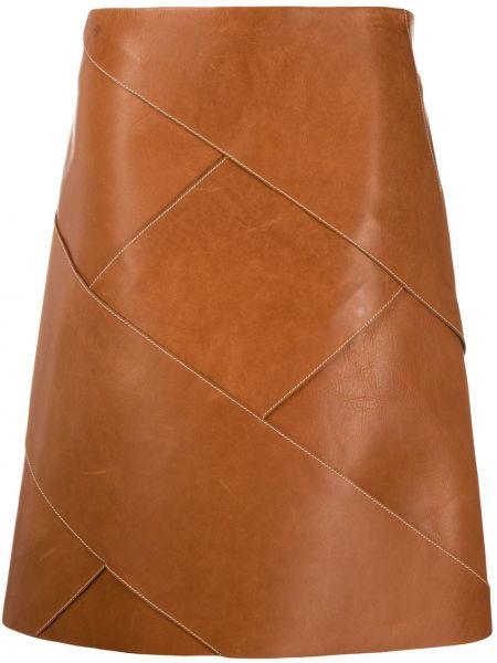 Коричневая с завышенной талией юбка миди в рубчик на молнии Bottega Veneta