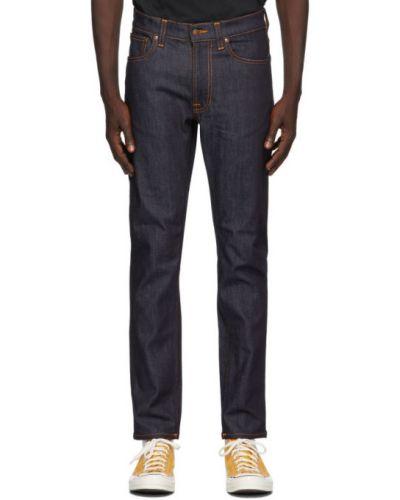 Текстильные синие джинсы стрейч Nudie Jeans