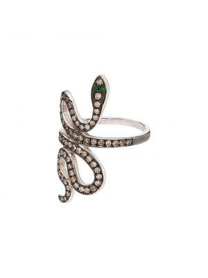 Pierścień ze srebra biały Ileana Makri