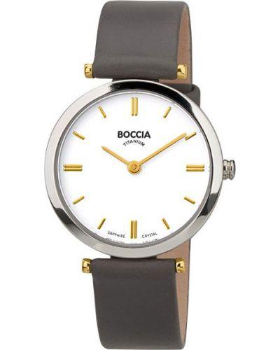 Часы на кожаном ремешке кварцевые водонепроницаемые Boccia Titanium