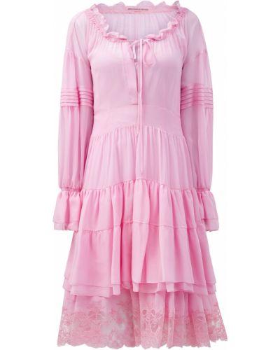 Шелковое розовое платье с декольте в стиле бохо Ermanno Scervino