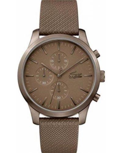 Brązowy zegarek na skórzanym pasku skórzany kwarc Lacoste