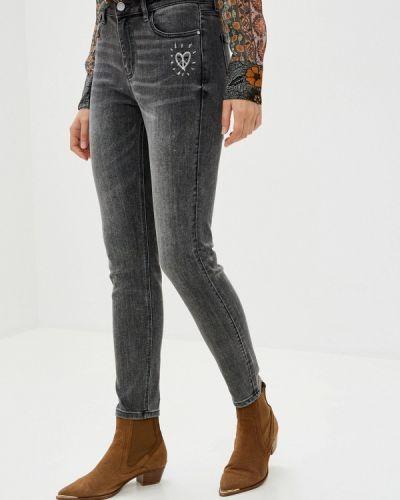 Серые джинсы-скинни узкого кроя Desigual