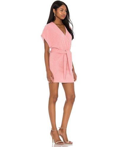 Текстильное восточное розовое платье мини Saylor