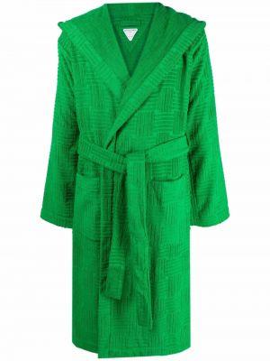 Długi szlafrok z kapturem - zielony Bottega Veneta