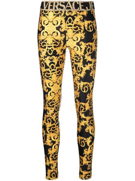 Черные джинсы с вышивкой с поясом Versace Jeans Couture