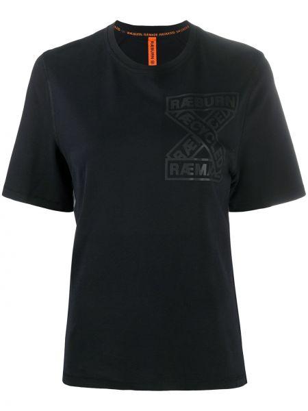 Хлопковая прямая черная футболка с круглым вырезом Raeburn