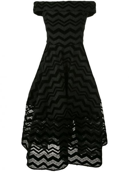 Черное платье миди с открытыми плечами с короткими рукавами Christian Siriano