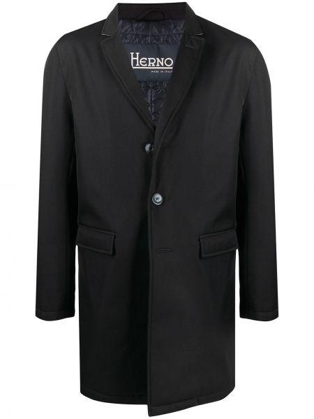Niebieski jednorzędowy wełniany długi płaszcz z kieszeniami Herno