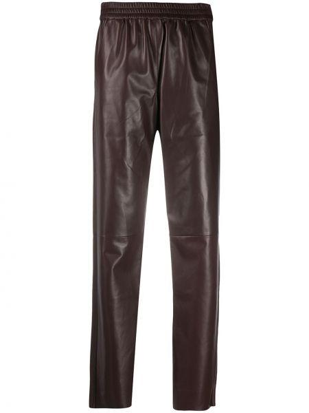 Брючные кожаные коричневые брюки Drome