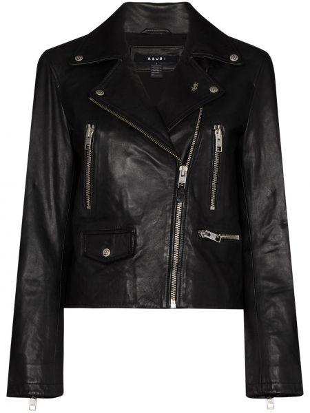 Черная кожаная куртка байкерская Ksubi