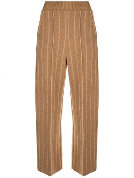 Коричневые укороченные брюки свободного кроя в рубчик с высокой посадкой Coohem