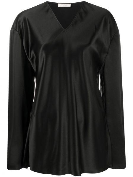 Шелковая черная прямая блузка с длинным рукавом с V-образным вырезом Nina Ricci