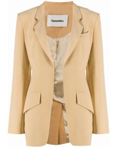Коричневый приталенный удлиненный пиджак на пуговицах Nanushka