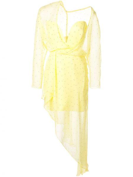 Желтое шелковое платье Michelle Mason