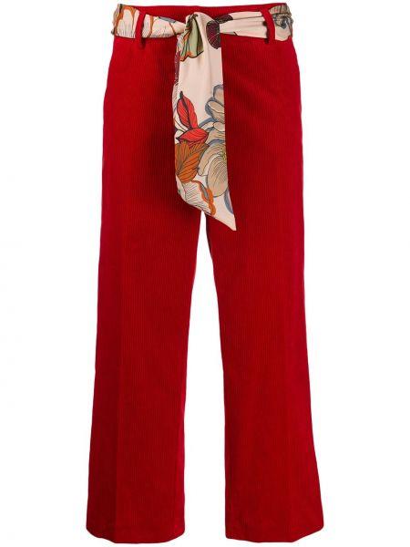Красные укороченные брюки с поясом свободного кроя на молнии Cambio