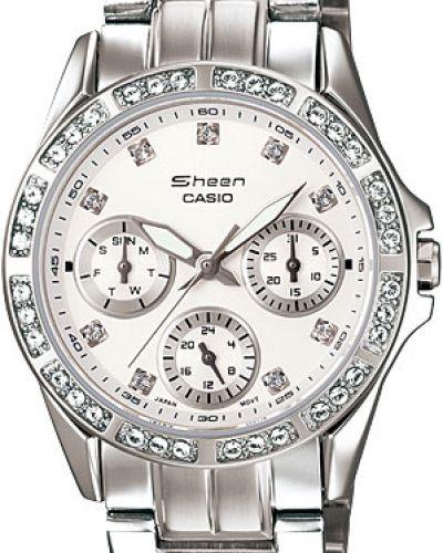 Кварцевые часы водонепроницаемые с камнями Casio