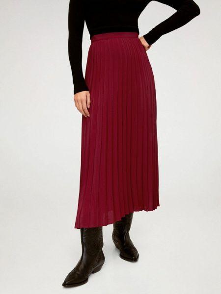 Бордовая плиссированная юбка Mango