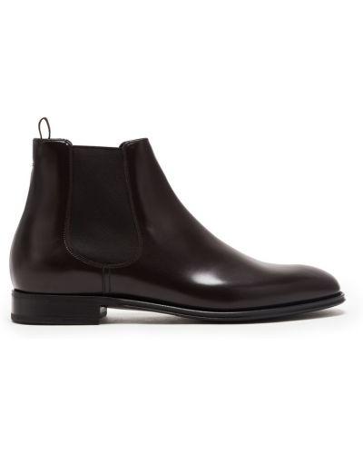 Кожаные бордовые ботинки челси со вставками эластичные Prada