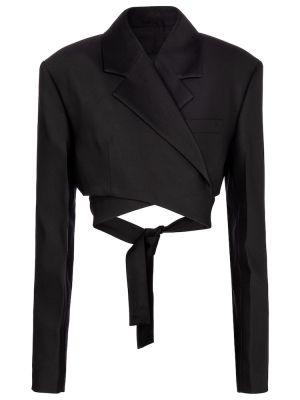 Шерстяная черная куртка для полных Proenza Schouler