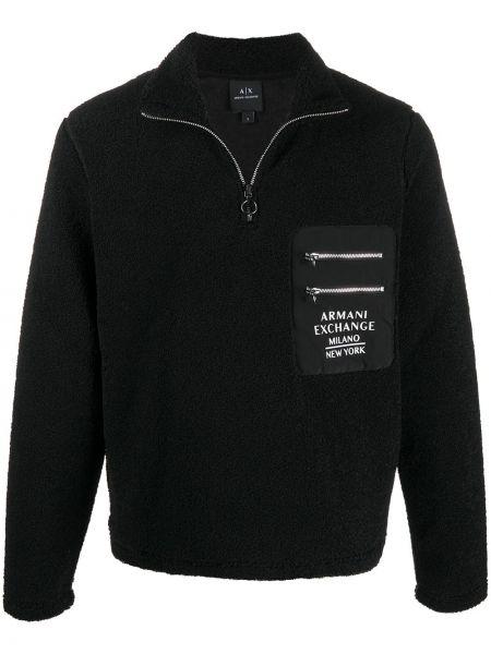 Флисовая черная толстовка на молнии Armani Exchange